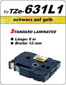 schwarz auf gelb - 100% TZe-631L1 (12 mm) komp.