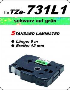 schwarz auf grün - 100% TZe-731L1 (12 mm) komp.