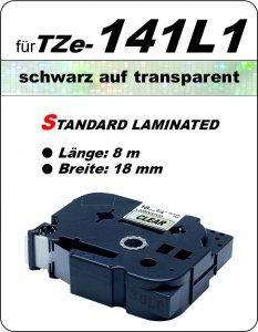 schwarz auf transparent - 100% TZe-141L1 (18 mm) komp.