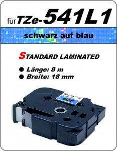 schwarz auf blau - 100% TZe-541L1 (18 mm) komp.