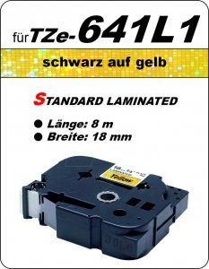 schwarz auf gelb - 100% TZe-641L1 (18 mm) komp.