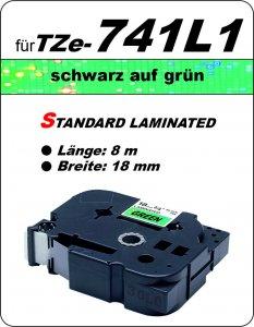 schwarz auf grün - 100% TZe-741L1 (18 mm) komp.