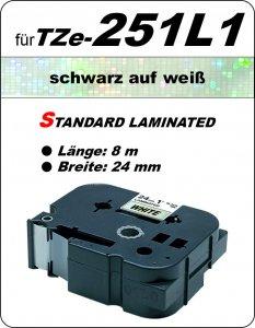 schwarz auf weiß - 100% TZe-251L1 (24 mm) komp.