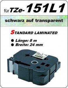 schwarz auf transparent - 100% TZe-151L1 (24 mm) komp.