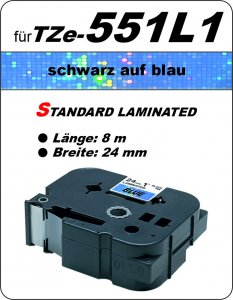 schwarz auf blau - 100% TZe-551L1 (24 mm) komp.