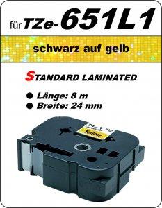 schwarz auf gelb - 100% TZe-651L1 (24 mm) komp.