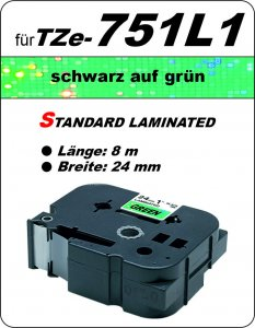 schwarz auf grün - 100% TZe-751L1 (24 mm) komp.