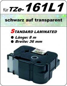 schwarz auf transparent - 100% TZe-161L1 (36 mm) komp.