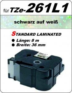 schwarz auf weiß - 100% TZe-261L1 (36 mm) komp.