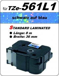 schwarz auf blau - 100% TZe-561L1 (36 mm) komp.