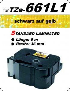 schwarz auf gelb - 100% TZe-661L1 (36 mm) komp.