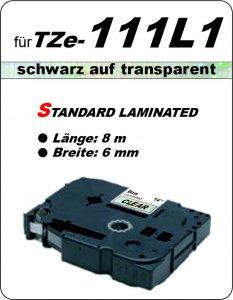 schwarz auf transparent - 100% TZe-111L1 (6 mm) komp.