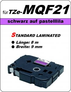schwarz auf pastelllila - 100% TZe-MQF21 (9 mm) komp.