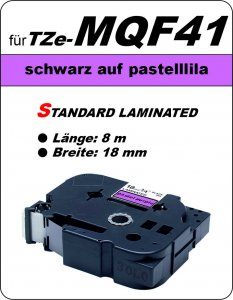 schwarz auf pastelllila - 100% TZe-MQF41 (18 mm) komp.