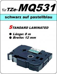 schwarz auf pastellblau - 100% TZe-MQ531 (12 mm) komp.