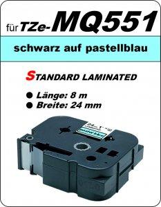 schwarz auf pastellblau - 100% TZe-MQ551 (24 mm) komp.