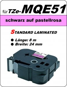 schwarz auf pastellrosa - 100% TZe-MQE51 (24 mm) komp.