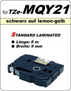 schwarz auf lemon-gelb - 100% TZe-MQY21 (9 mm) komp.