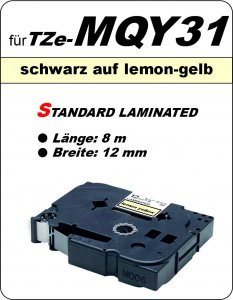 schwarz auf lemon-gelb - 100% TZe-MQY31 (12 mm) komp.