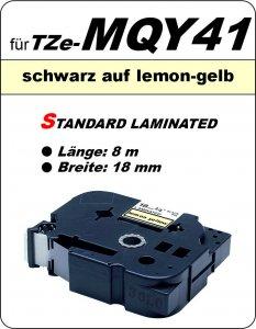 schwarz auf lemon-gelb - 100% TZe-MQY41 (18 mm) komp.
