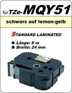 schwarz auf lemon-gelb - 100% TZe-MQY51 (24 mm) komp.