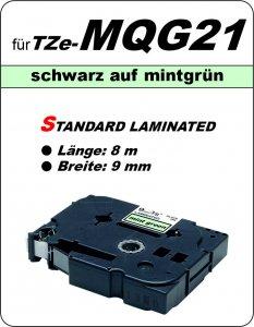 schwarz auf mintgrün - 100% TZe-MQG21 (9 mm) komp.