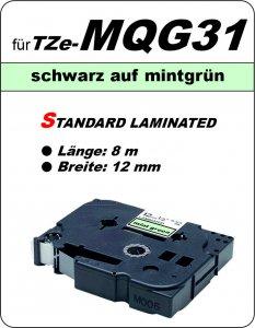 schwarz auf mintgrün - 100% TZe-MQG31 (12 mm) komp.