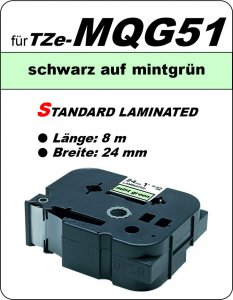 schwarz auf mintgrün - 100% TZe-MQG51 (24 mm) komp.